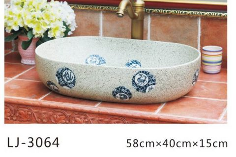 LJ-3064 Jingdezhen Sanitary Ware Porcelain Bathroom stamp glazing Wash Basin Sink
