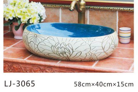 LJ-3065 Jingdezhen Sanitary Ware Porcelain Bathroom Flower glazing Wash Basin Sink