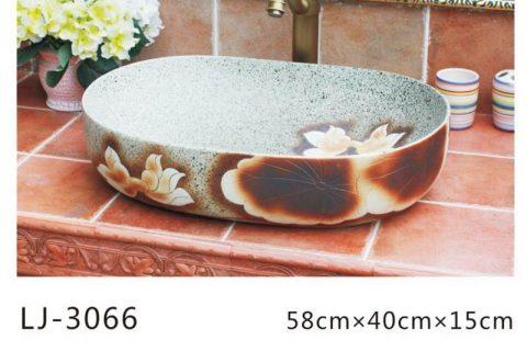LJ-3066 Jingdezhen Sanitary Ware Porcelain Bathroom Flower glazing Wash Basin Sink