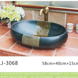 LJ-3068 Jingdezhen Sanitary Ware Porcelain Bathroom Flower glazing Wash Basin Sink