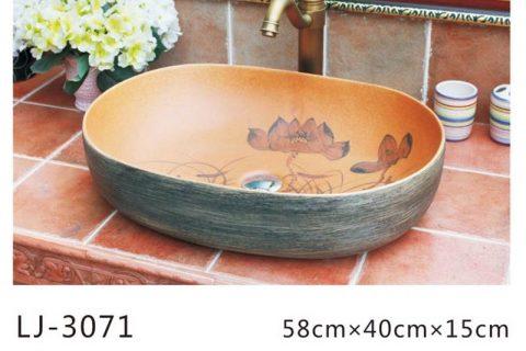 LJ-3071 Jingdezhen Sanitary Ware Porcelain Bathroom Flower glazing Wash Basin Sink