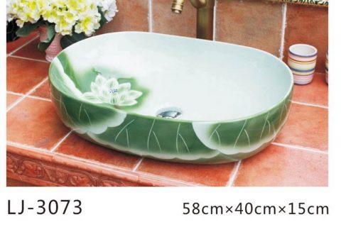 LJ-3073 Blue lotus Bright Porcelain Bathroom artwork Wash Basin Sink