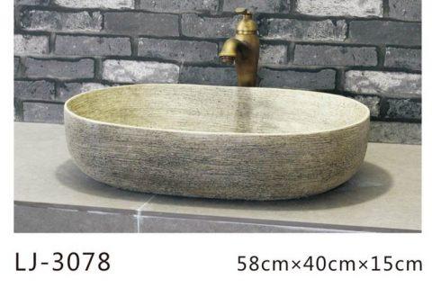 LJ-3078 Clay Ceramic polished Bathroom artwork Wash Basin Sink