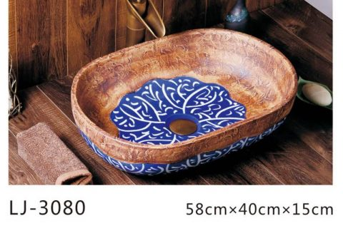 LJ-3080 Clay Ceramic blue and white Bathroom artwork Laundry Wash Basin Sink