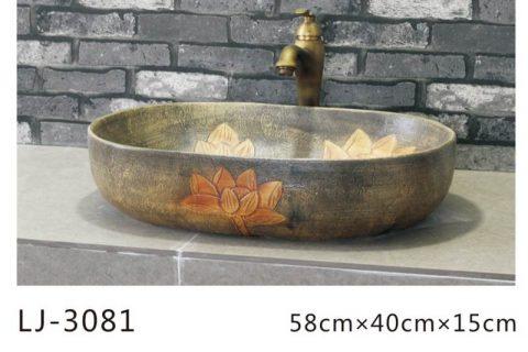 LJ-3081 Clay Ceramic blue and white Bathroom artwork Laundry Wash Basin Sink