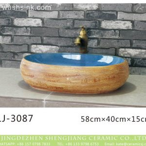 LJ-3087 Clay Ceramic brightness blue Bathroom artwork Laundry Wash Basin Sink