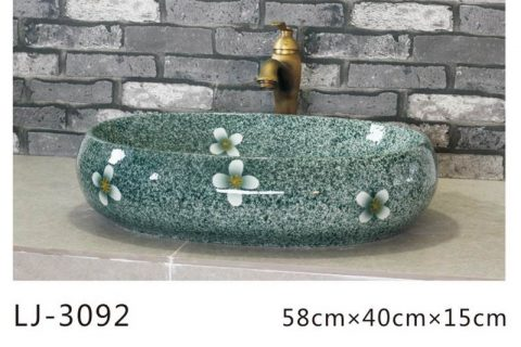 LJ-3092 Ceramic blue Lotus Bathroom artwork Laundry Wash Basin Sink