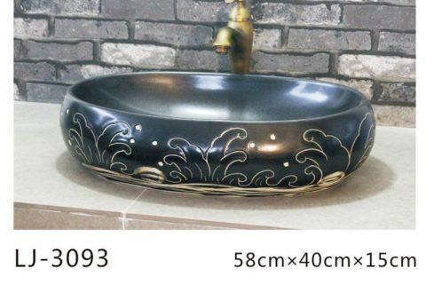 LJ-3094 Ceramic Blue Lotus Bathroom artwork Laundry Washing Basin Sink