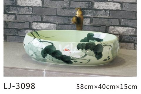 LJ-3098 Ceramic blue Bathroom artwork awesome Laundry Washing Basin Sink