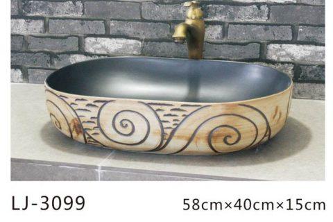 LJ-3099 Ceramic light dark Bathroom artwork grace Laundry Washing Basin Sink