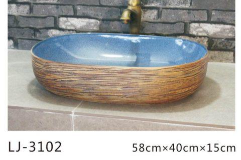 LJ-3102 Ceramic Clay Bathroom artwork grace Laundry Washing Basin Sink