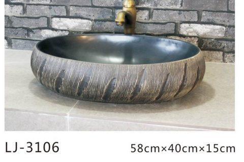 LJ-3106 Ceramic Clay black Bathroom artwork grace Laundry Washing Basin Sink