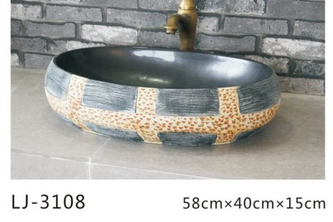 LJ-3108 Ceramic Clay black Bathroom artwork grace Laundry Washing Basin Sink