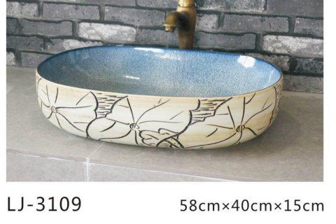 LJ-3109 Porcelain Clay Bathroom artwork Lotus Laundry Washing Basin Sink
