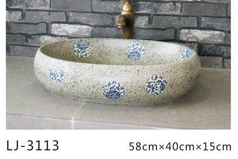 LJ-3110 Ceramic Clay Flower Bathroom artwork grace Laundry Washing Basin Sink