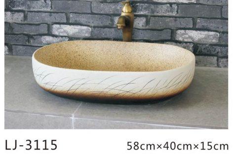 LJ-3115 Ceramic Clay Glass Flower Bathroom artwork grace Laundry Washing Basin Sink