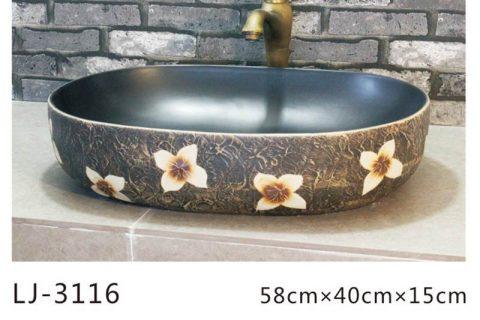 LJ-3116 Ceramic Clay black lotus flower Bathroom artwork grace Laundry Washing Basin Sink