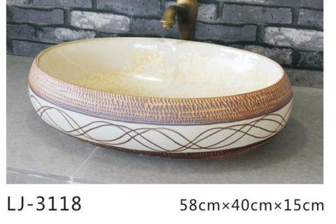 LJ-3118 Ceramic Clay flower Bathroom artwork grace Laundry Washing Basin Sink