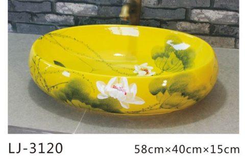 LJ-3120 Ceramic Yellow flower Bathroom artwork grace Laundry Washing Basin Sink