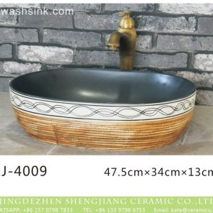 LJ-4009 Porcelain black Bathroom artwork Laundry Washing Basin Sink