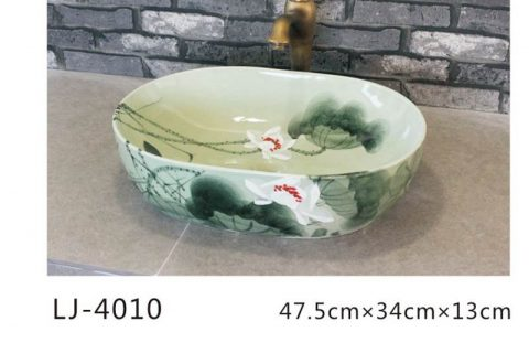 LJ-4010 Porcelain black Bathroom artwork Laundry Washing Basin Sink