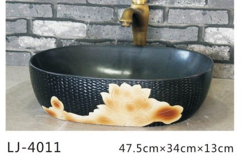 LJ-4011 Porcelain black Bathroom artwork grace Laundry Washing Basin Sink