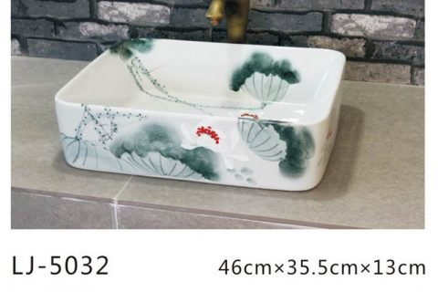 LJ-5032 Bule and white glazed Square Bathroom artwork Laundry Washing Basin Sink