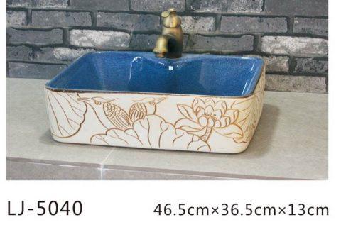 LJ-5040 Porcelain clay glazed Square Bathroom artwork Laundry Washing Basin Sink