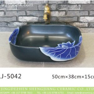 LJ-5042 Black glazed Square Bathroom artwork Laundry Washing Basin Sink