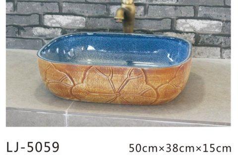 LJ-5059 Porcelain clay glazed Square Bathroom artwork Laundry Washing Basin Sink