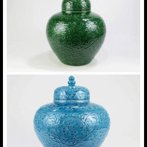 RYDB55-AB Hand carved plain color floral jar