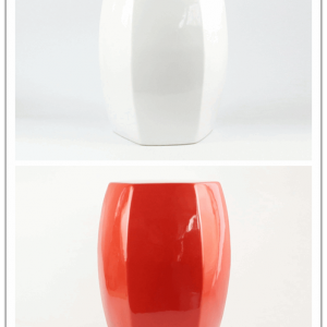 RYIR122-B/C Simple color red white ceramic outdoor stools