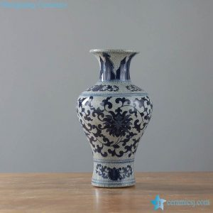 RYKZ15-16 Dark blue crackle design antique collection porcelain vase