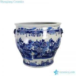 RYLU139 China water town pattern hand painted ceramic large pot
