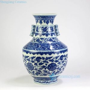 RYUU26-27 Two bamboo design ears blue and white royal ceramic vase