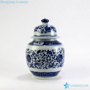 RZBV05 Floral blue and white small ginger pot
