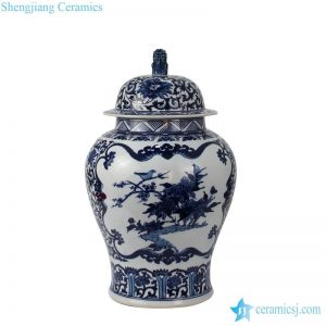 RZFQ25 Deep blue color lion knob hand painted Chinese style home decor bird floral jar