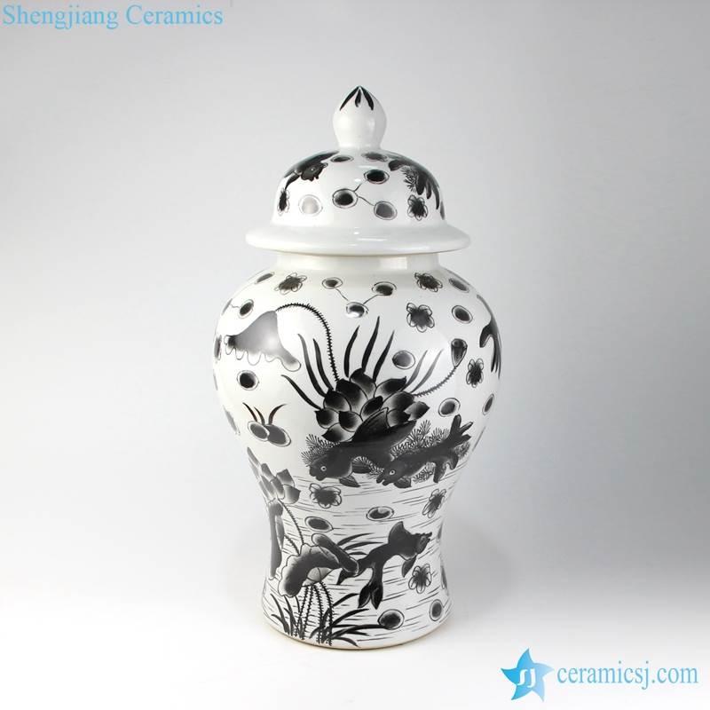 black ink painting jar