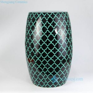 RZKL16 Green spade pattern black background pottery seat