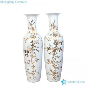 RZKN02 Gold rosemary pattern giant ceramic vase for hall