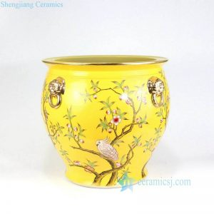 RZLS01-RZFH Royal yellow background peach flower branch parrot high end porcelain planter