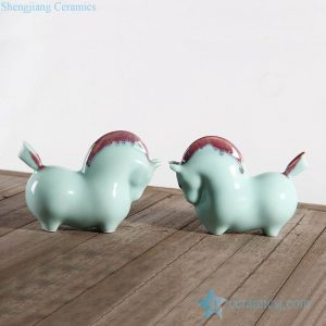 RZLY01-04 Jingdezhen green color animal ceramic figurines