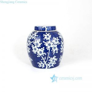 RZMA07 09 Dark blue winter sweet pattern hand paint exquisite ceramic jar