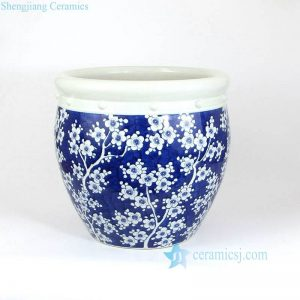RZMA10 Cute round deep blue cherry blossom pattern ceramic planter