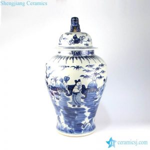 RZMA17 Hand paint cobalt blue China legend eight immortals pattern ceramic ginger pot