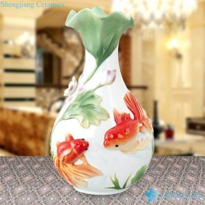 RZMF01 Engraved red fish with lotus pattern enamel paint porcelain flower vase