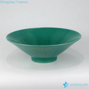 RZMG12 Seaweed green color wide flat rim ceramic bowl