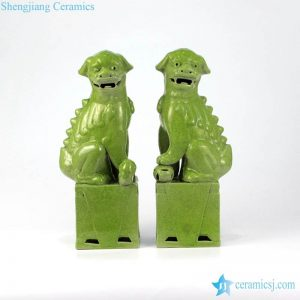 RZMG02 13 Crackle green glaze imperial lion statue