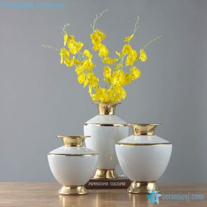 RYKB155 Glossy white modern interior design ceramic vase with gold line rim