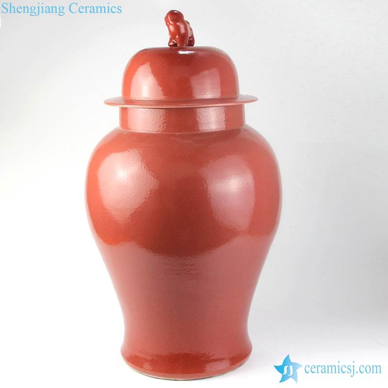 RED COLOR VASE WITH LID